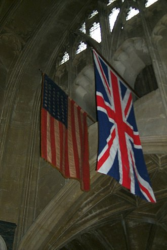 405th Air Expeditionary Group - US Flag, a gift from the 405th, hangs in Christchurch Priory