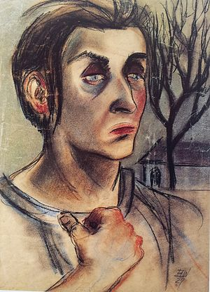 Elfriede Lohse-Wächtler - A female patient. Woman with landscape., 1929.