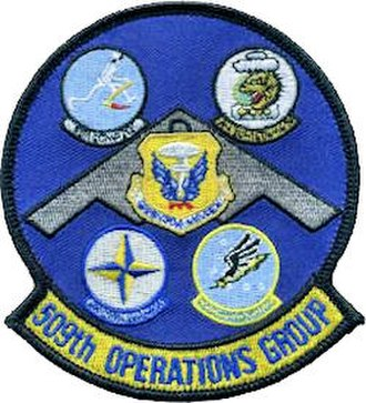 509th Operations Group - Gaggle patch of 509 OG squadrons. Consists of (clockwise from top left): 13th Bomb Squadron, 393d Bomb Squadron, 509th Operations Support Squadron, 394th Combat Training Squadron and 509th Bomb Wing (center).