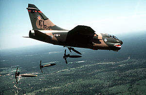 76th Fighter Squadron - 76th Tac Fighter Squadron A-7 Corsair II dropping Mark 82 bombs