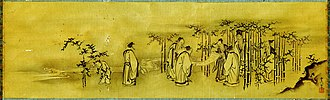 Six Dynasties poetry - The Seven Sages of the Bamboo Grove (with boy attendant), in a Kano school Japanese painting of the Edo period