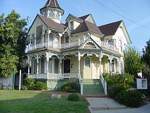 Angelino Heights, Los Angeles - 824 East Kensington Road, Los Angeles, CA, Angeleno Heights, This Queen Anne Victorian home with Moorish and Eastlake influences, was built in 1892. The location was soon the epicenter of the Los Angeles Oil Field and became surrounded by oil derricks. The home was moved to Angeleno Heights in 1900 and was the first home in the neighborhood to have electricity.