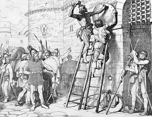 Oleg, amint Konstantinápoly elfoglalása után kiszögelteti a pajzsát a kapura - Forrás: Wikipédia
