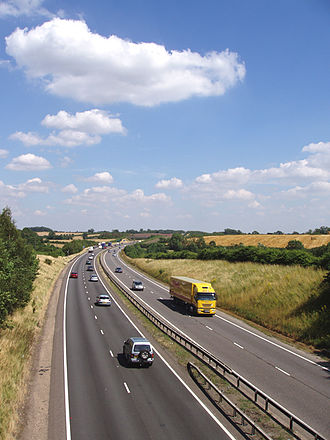 A42 road (England) - Looking north bound towards restricted junction 14.