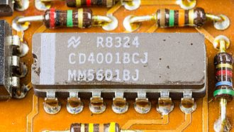 4000-series integrated circuits - CD4001B in DIP-14 package (quad 2-input NOR gate)