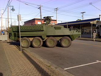 Godzilla (2014 film) - A wooden mock-up of a U.S. Army Stryker armoured fighting vehicle parked on Moncton St. in Richmond, BC during the shooting of Godzilla.