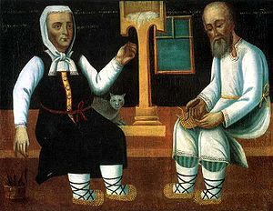 "Agriculture in the Russian Empire - ""A Muzhik Botching the Bast Shoes, an Old Woman Spinning Thread"", 19th Century, oil on canvas"