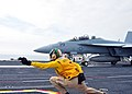 A Shooter signals an F A-18F Super Hornet at sea. (8723988698).jpg