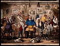 A barber lathering a man's face, other men trying on wigs. C Wellcome V0040693.jpg