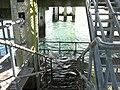 A fast ebb tide flows through the lower level of the Landerneau Pier - geograph.org.uk - 526865.jpg