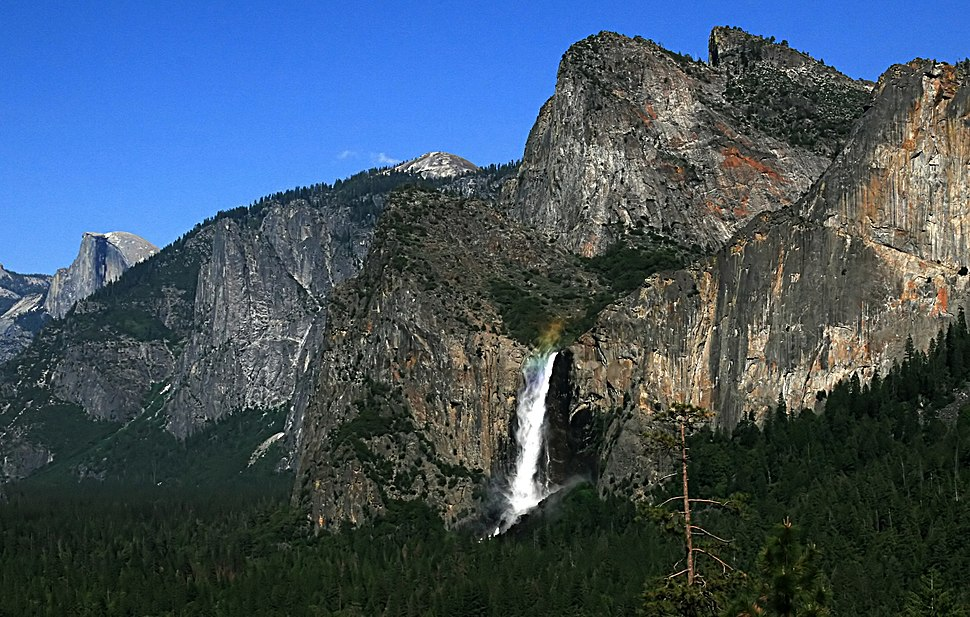 A rainbow over Bridalveil Fall seen from Tunnel View in Yosemite NP