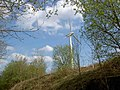 A single wind turbine looms over the Trans Pennine Trail - geograph.org.uk - 1277688.jpg
