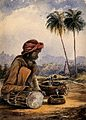 A snake charmer from Poonah, India. Watercolour, 1873. Wellcome V0015988.jpg