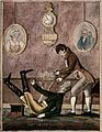 A wealthy patient falling over because of having a tooth ext Wellcome V0012058.jpg
