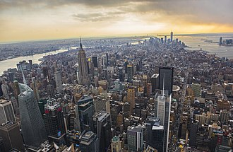 Manhattan - View from Midtown Manhattan facing south toward Lower Manhattan