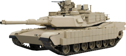 The US Military's M1 Abrams MBT uses composite, reactive, and cage armour Abrams-transparent.png