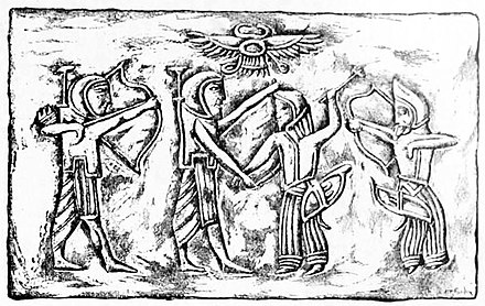 Achaemenid soldiers fighting against Scythians, 5th century BC. Cylinder seal impression (drawing). Achaemenids fighting against Scythians.jpg