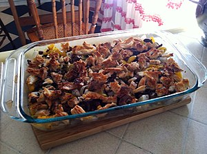 Casserole - An ad hoc American casserole with ground beef, onions, peppers, mushrooms, herbs and spices, and bread crumbs.