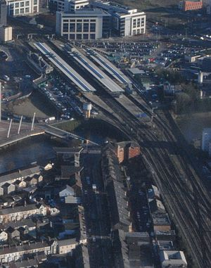 Cardiff Central railway station - Aerial view of Cardiff Central