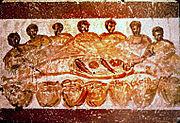Ceias festivas eram um tema comum nas catacumbas cristãs.