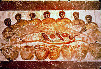 Early Christian painting of an Agape feast. Agape feast 07.jpg