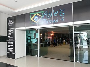 Agile software development - Image: Agile Brazil 2014 conference entrance