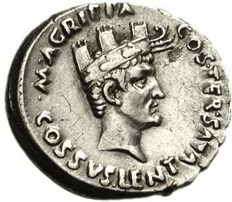 Agrippina the Elder - A denarius depicting Agrippa wearing a combination of the corona muralis and the corona rostalis.