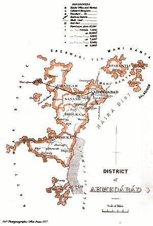 Dhandhuka - Dhandhuka in map of Ahmedabad district under Bombay Presidency, British India 1877