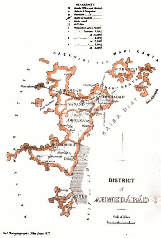 Ahmedabad District Map 1877