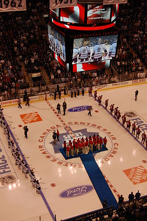 Air Canada Centre - Preparing for the National Anthem at the Toronto Maple Leafs home opener against the Montreal Canadiens during the 2008–2009 season.