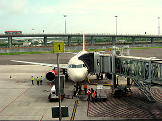 Jet bridge - A jetway bridge in Hyderabad International Airport (VOHS)