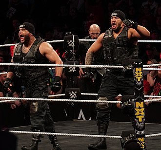 The Authors of Pain - Akam (left) and Rezar (right) with Ellering (back, on ring apron) in April 2018