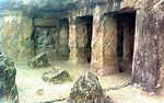 Two rock-cut cave temples on the Indrakila hill known as Akkana Madanna cave Kiratarjuna pillar and slab the Indrakila hil Inscribed pillar and slab in Malleswaraswami temple