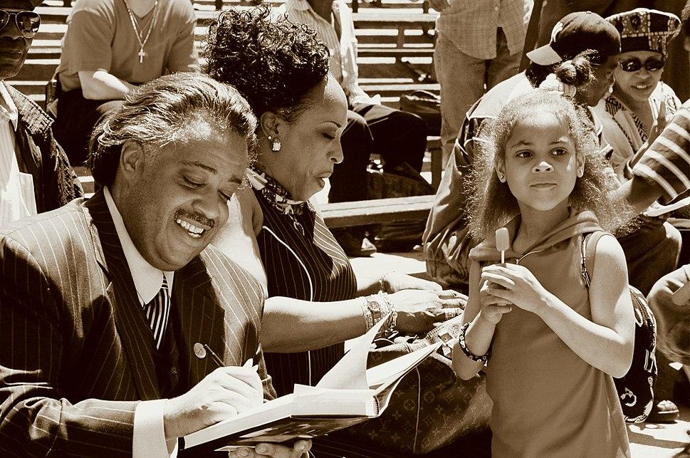 Al sharpton book signing in marcus garvey park