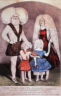 Uma fam�lia de albinos em pintura para exposi��o, usualmente � fato curioso pois seus cabelos s�o esbranqui�ados.