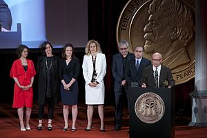 "Mea Maxima Culpa: Silence in the House of God - Kristen Vaurio, Sloane Klevin, Alexandra Johnes, Lori Singer, Todd Wider, Jedd Wider and Alex Gibney accept the Peabody Award for ""Mea Maxima Culpa."""