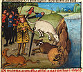Alexander, his men and beasts suffering from thirst by a river.jpg