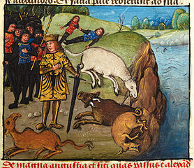 Alexander, his men and beasts suffering from thirst by a river
