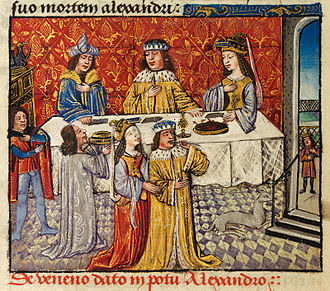 Death of Alexander the Great - The poisoning of Alexander depicted in the 15th century romance The History of Alexander's Battles, J1 version. NLW MS Pen.481D