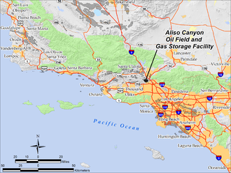 Aliso Canyon Oil Field - Location of Aliso Canyon Oil Field in southern California