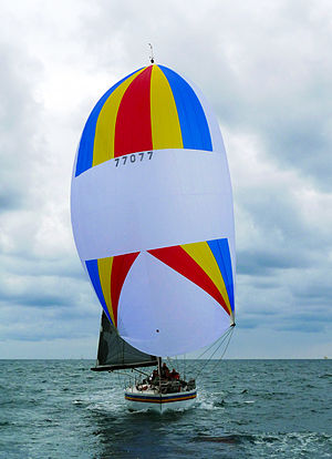 Sail components - Yacht flying a triangular, symmetric spinnaker with tri-radial construction—panels radiating from all three corners.