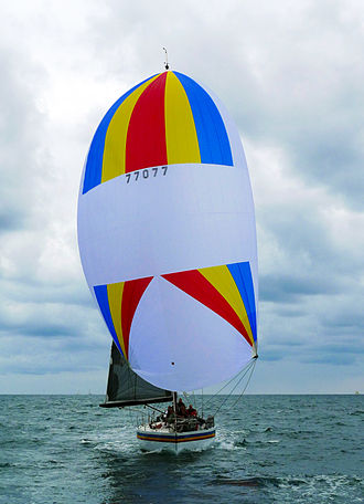 "Spinnaker - Amante, A 1983 ""Choate 48"" in Newport Beach, California, in February 2015 flying a Symmetric spinnaker"