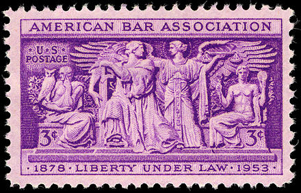 Stamp issued to commemorate the 75th anniversary of the American Bar Association. American Bar Association 3c 1953 issue U.S. stamp.jpg