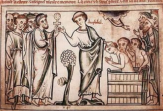 Celtic Christianity - Amphibalus baptizing converts, from The Life of St. Alban, written and illustrated by Matthew Paris († 1259)