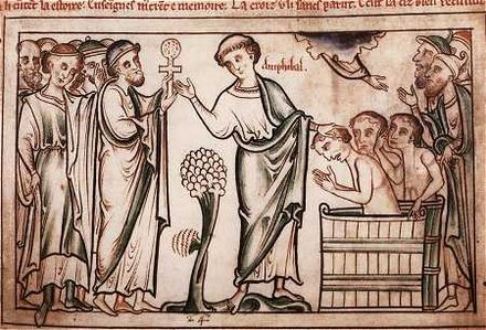 Amphibalus baptizing converts, from The Life of St. Alban, written and illustrated by Matthew Paris (+ 1259) Amphibalus.jpg