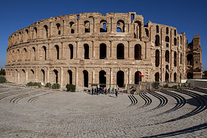 Tunisia - The Roman amphitheater in El Djem, built during the first half of the 3rd century AD