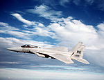 An air-to-air left side view of an F-15 Eagle test bed aircraft assigned to the Flight Test Branch of the Warner Robins Air Logistics Center DF-ST-87-04355.jpg