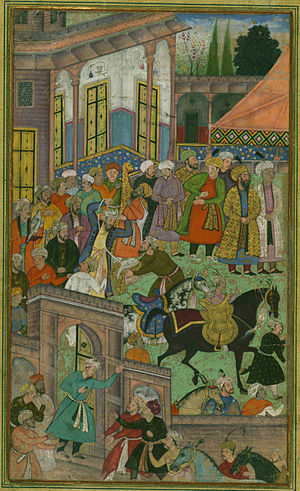 Baburnama - Image: An awards ceremony in the Sultan Ibrāhīm's court before being sent on an expedition to Sambhal