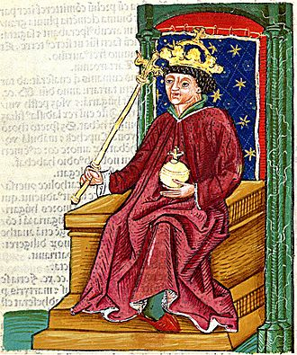 Andrew III of Hungary - Andrew depicted in the Chronica Hungarorum in 1488