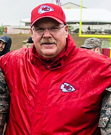 Andy Reid at Chiefs Military Appreciation Day in 2016